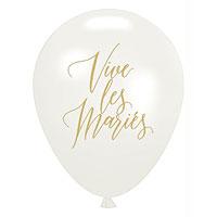 Ballons Vive les Mariés Blanc et Doré x10