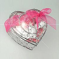 Coeur Fil Métal Argent avec Dragées