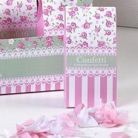 Boite Confettis Coeurs Blanc et Rose Liberty