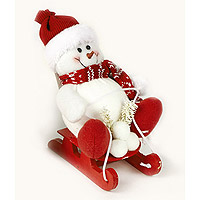Le Bonhomme de Neige sur Luge Rouge à Poser ou Suspendre