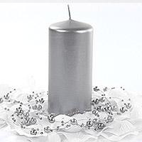 Bougie Cylindrique Argentée 12cm Longue Durée