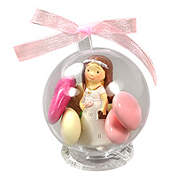 Boules Figurine Communion et Support Cristal