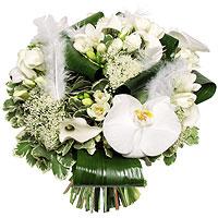 Bouquet Rose Orchidée et Plume