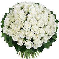 Bouquet 50 Roses Blanches Mariage