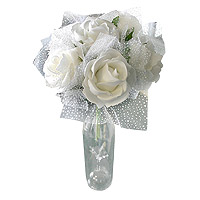 Bouquet Roses Blanches Tulle Mariage