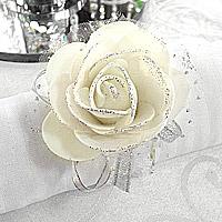 Lot de 6 Bracelets Rose Pailletée Blanc Cassé