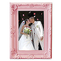 Cadre Photo Baroque Moulures Rose