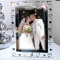 Cadre Photo Coeurs Argentés Mariage