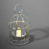 Mini Cage à Oiseaux Argentée Photophore