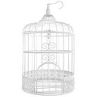 La Cage à Oiseaux Urne et Décoration Métal Blanc