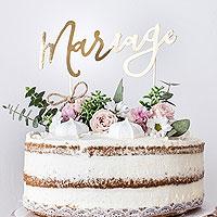 Cake Topper Mariage Doré