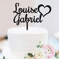 Cake Topper Personnalisé Coeur Noir