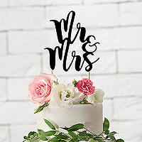 Cake Topper Mariage Mr and Mrs Noir