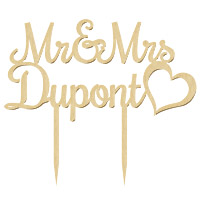 Cake Topper Mr and Mrs en Bois