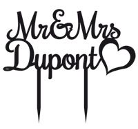 Cake Topper Personnalisé Mr and Mrs Noir