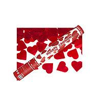 Le Canon Explosif  Confettis Coeurs Rouge Métalliques 40 cm