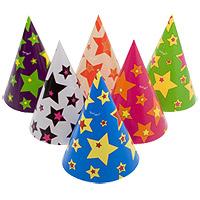 Lot de 6 Chapeaux de Fête Pointus Motif Etoiles