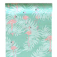 Chemin de Table Tropical Tissu Flamant Rose