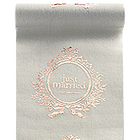 Chemin de Table Coton Lin Just Married Rose Gold