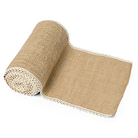 Chemin de Table en Jute Naturelle Bord Dentelle