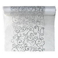 Chemin de Table Organza Arabesques Blanc Argent