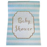 Chemin de Table Tissu Baby Shower Rayé Bleu