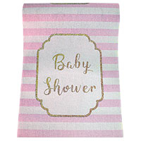 Chemin de Table Tissu Baby Shower Rayé Rose