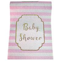 Chemin de Table Tissu Baby Shower Rayé Rose