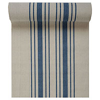 Chemin de Table Coton Beige Rayé Bleu Tradition