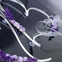 2 Coeurs Rotin et Fleurs Séchées pour Voiture Parme