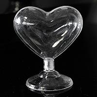 Coeur Transparent sur Pied Contenant x 3
