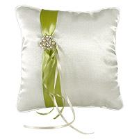 Coussin Alliances Satin Vert Anis Broche Strass
