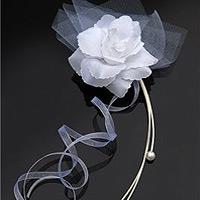 Le Set de 4 Déco Fleurs Perles et Organza Autocollantes