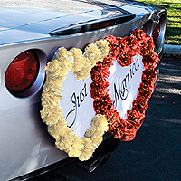 Double Coeur Just Married Pompons Voiture Mariage