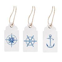 Etiquettes Thème Mer Blanc et Bleu avec Cordelettes x15