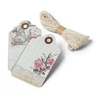 Etiquettes Vintage Fleuri avec Ficelle