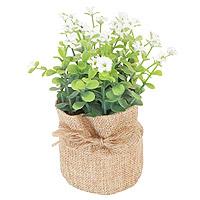 Petit Pot Jute Plante Verte et Fleurs Artificielle 16cm