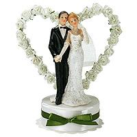 La Figurine des Mariés Coeur avec Petites Roses