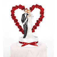 La Figurine des Mariés Coeur avec Petites Roses Rouges