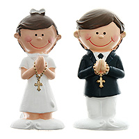 Lot de 2 Petites Figurines Communion Décoration Style Bd