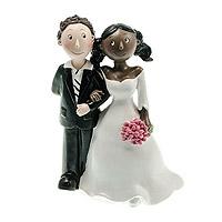 Figurine des Mariés Mixte Femme Black Homme Blanc