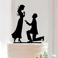 Cake Topper Mariés Demande en Mariage Noir