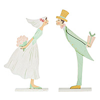 Figurines Mariage en Bois French Kiss