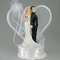 La Figurine des Mariés Coeur Perlé et Fleurs