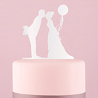 La Figurine des Mariés Plexiglass Blanc Baiser et Ballon
