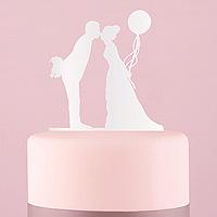Figurine Mariage Plexiglass Blanc Baiser et Ballon