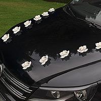 9 Petites Roses Blanches Adhésives pour Voiture