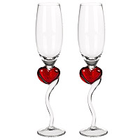 Flutes Champagne Verre Coeur Rouge Mariage