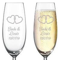Flute Champagne Gravée Luxe Coeurs Enlacés