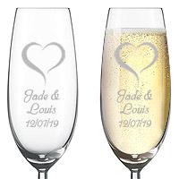 Flute à Champagne Gravée Luxe Personnalisée Coeur
